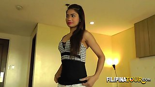 Cute petite from Filipina wears sexy lingerie to seduce a white backpacker.