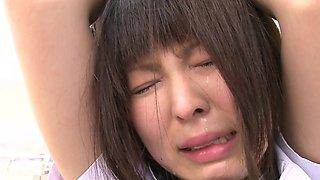 Brunette Japanese girl Kaori Kawada gets rammed by two guys