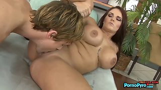 Big titted mackenzee pierce takes a cock in her love holes