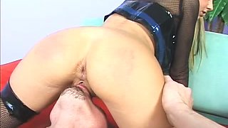 Busty light haired strumpet facesitting and sucking sweet dick