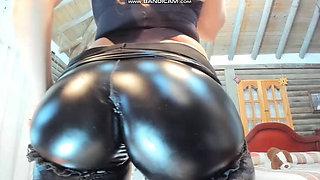 Girl in pvc latex leggings