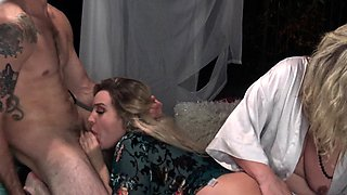 Housewives sharing cocks in homemade foursome video