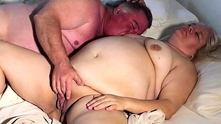 Chubby amateur granny has a guy licking and fucking her cunt