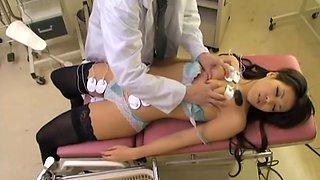 Skinny Jap in stockings gets banged in voyeur medical video