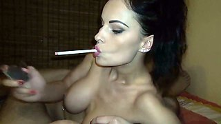 Perfect smoking hot busty brunette wanna tease strong cock of my friend