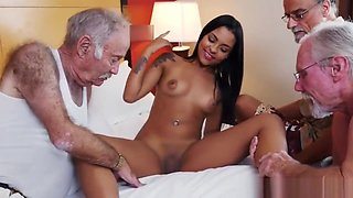 Teen beauty riding oldmans dick in group