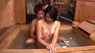 After Asian gets herself oiled up she enjoys rough sex with a dude