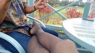 Milf nylon foot &amp leg tease 06