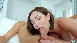 Busty brunette Yasmin Scott fingers herself while being analfucked