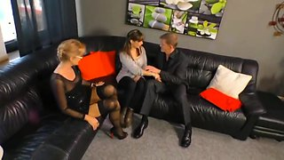 Mother and daughter getting fucked on sofa