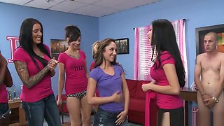 Cfnm sorority babes make pledge ride cock