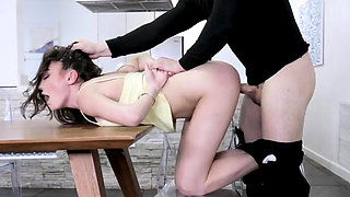 Wet hardcore anal threesome and rough throat bulge cheerlead