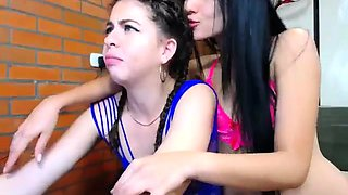 Lucky old man joins two beautiful camgirls for a threesome