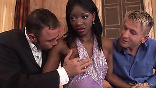 Ebony beauty deals two studs in the same time