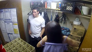 Sex-hungry Kalina Ryu is having quickie in the storeroom
