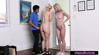 Hot teen stepsisters pay with taboo fuck for their sins