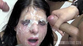 Premium Bukkake - Elya swallows 38 huge facial cumshots