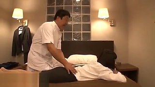 Japanese body massage with Milf in pantyhose