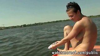 Amateur Czech babe doggystyle public banging on a boat