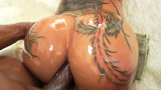 Bella bellz oiled up and fucked