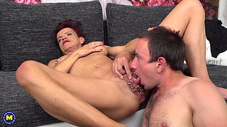 Mature chick Kim O. gets her pierced pussy banged by a neighbor