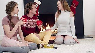 Christmas threesome fucking with sexy Yasmin Scott and Elena Koshka