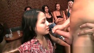 Tiny Babe gets Jizz on her Face from Stripper