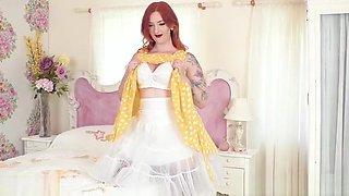 Busty redhead strips off white lingerie wanks in nylons heels