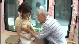 Candid young japan girl be seduced by old man