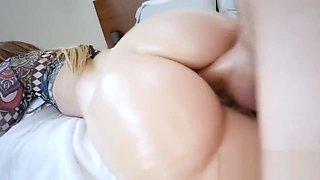 Curvy pornstart Jayden Black gets licked and fucked on bed