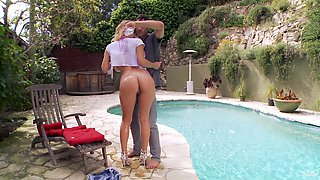 Nice ass cutie in shorts rides a stiff pecker cowgirl pose outdoors