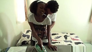 African teen convinced to suck cock then have sex on cam