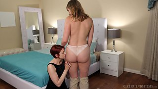 Redhead chick having sex with her blonde friend. Bree and Giselle
