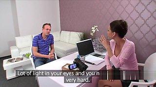 Female agent lets amateur guy bang her