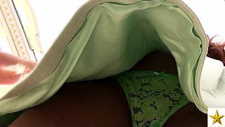 Fascinating European brunette in sexy green panties upskirt