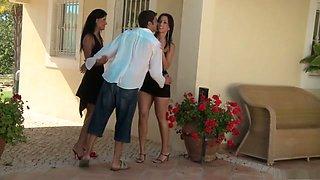 Crazy pornstars Mandy Saxo, Natalie Colt and Eve Angel in hottest brunette, piercing porn clip