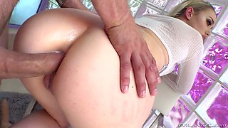 After warmed up with toy lusty Anny Aurora takes fat cock into her anus