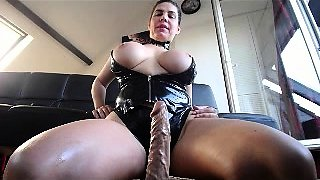 Cam girl shows off her enormous jugs and rides a dildo