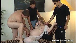 Goldenhaired pregnant slut gets gangbang