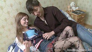 Slim Russian honey Juliya C gets her tight twat drilled with fervor