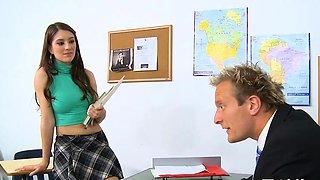 Rock hard lad fills taut fuckholes of a reluctant schoolgirl