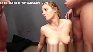 Newbie Caleigh Blowbangs Gets Her Face Covered In Cum
