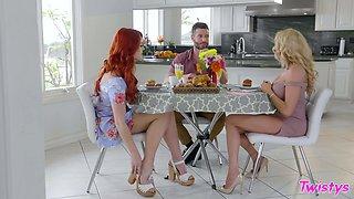 Elegant women go naughty in a seductive lezzie home play