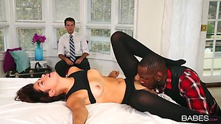 Cuckold husband films his wife Izzy Bell riding a black cock