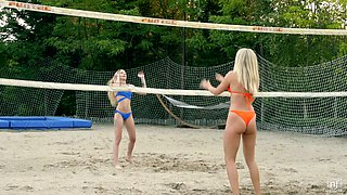 Bikini babes plays volleyball and fuck one handsome guy with a big dong