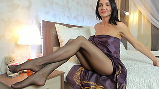 Beautiful and stylish lady try her new high heels