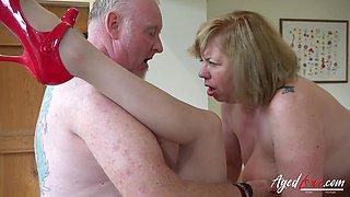 Two perverted old housewives bangs one dude living nextdoor
