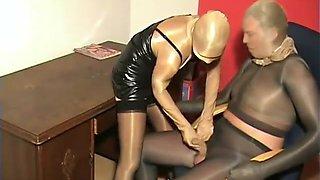 Total Shiny Pantyhose Nylon Encased Couple Office Fetish Fuck Stockings
