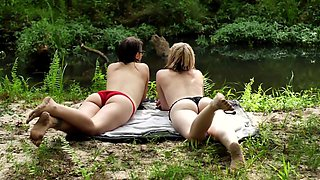 Swimming With My Girlfriend (Slow Motion) In The Woods Wet Girl On Girl Fun
