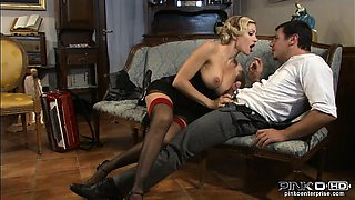 Blonde with perfect tits rides it hard